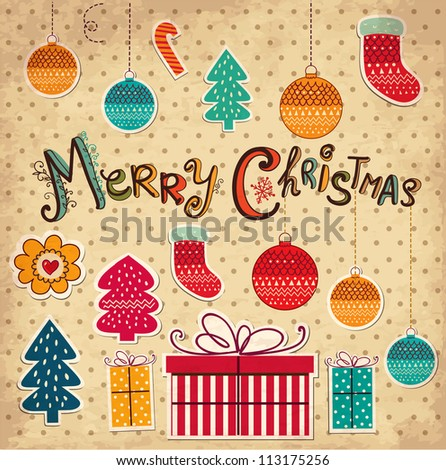 Christmas card with gifts and balls - stock vector