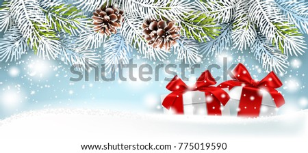 christmas card with gifts on a