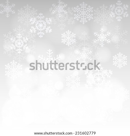 Christmas card with glowing snowflakes, and bokeh and white border