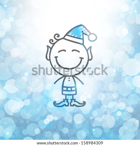 christmas card with hand drawn elf - stock vector
