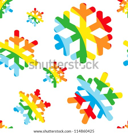 Christmas card with happy reinbow christmas snow. Christmas pattern, vector.