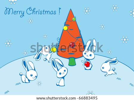 Christmas card with hares and a fur-tree from carrots