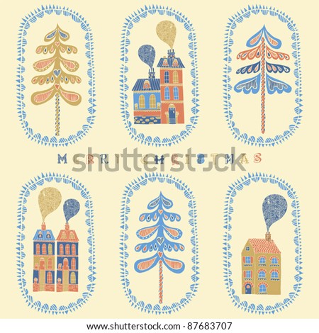 christmas card with houses - stock vector