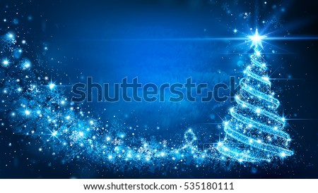 Stock Photo Christmas card with Magic Tree blue color. Vector illustration