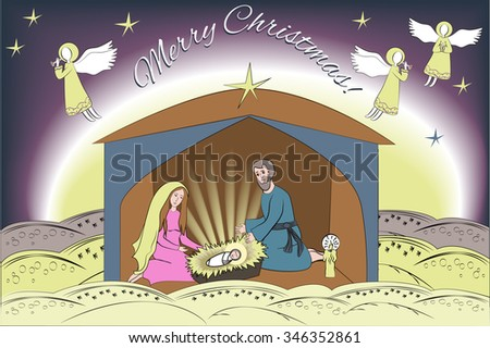 christmas card with nativity