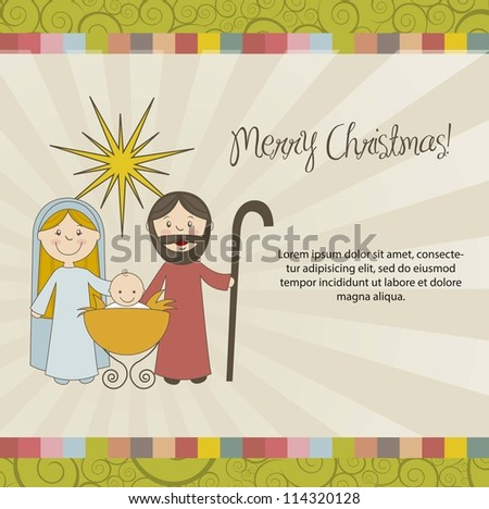 christmas card with nativity scene, vintage style. vector