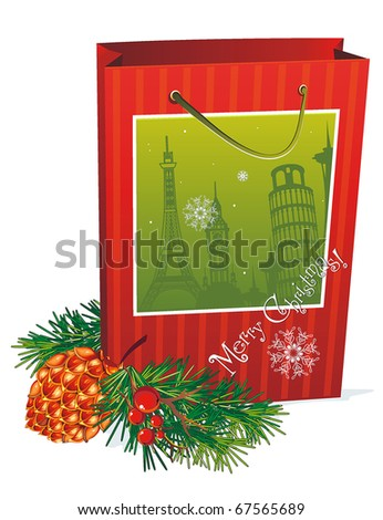 Christmas card with package and fur big shots. Holiday shopping bags on white background, vector illustration.