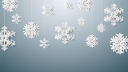 Christmas card with paper snow flake. Falling snowflakes on a dark blue winter background. Vector illustration. Merry Christmas, New Year design. EPS 10.