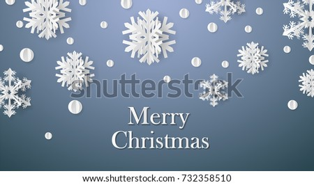christmas card with paper snow
