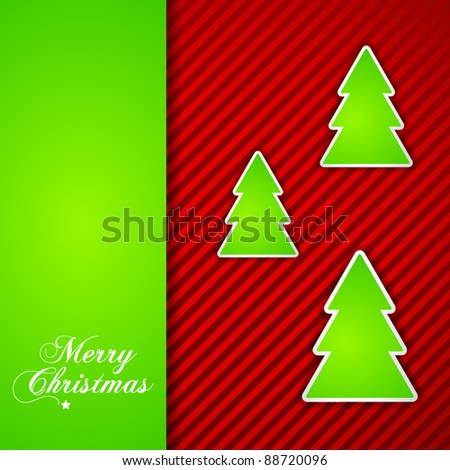 Christmas Card with paper tree stickers
