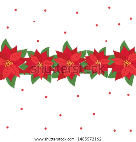 Christmas card with poinsettias in the middle, vector illustration