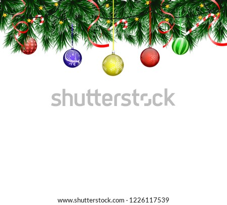 Christmas card with realistic fir branches and balls on a white background with an inscription #1226117539