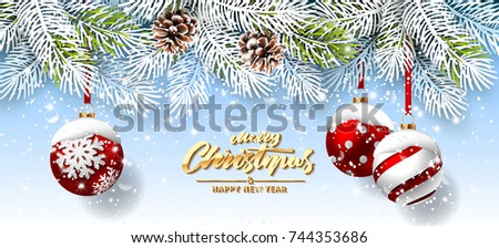 Christmas card with red balls and fir branches. Snowy sparkling background
