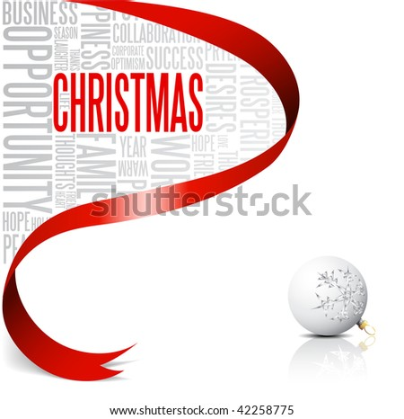 Christmas card with red ribbon and white bulb  (vector)