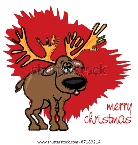 Christmas card with reindeer on red background - funny cartoon illustration
