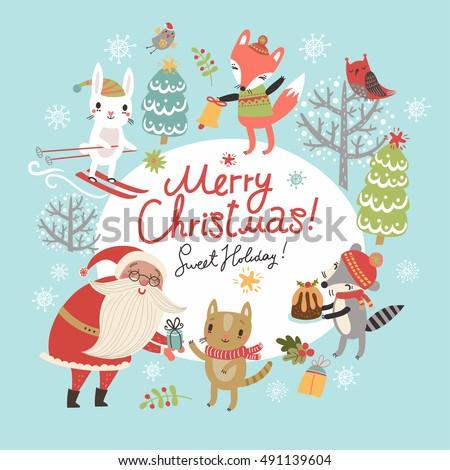 christmas card with santa and