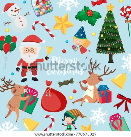 Christmas card with Santa and many items on blue background illustration