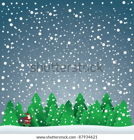 christmas card with Santa Claus in forest and snowflakes in the blue sky, vector illustration