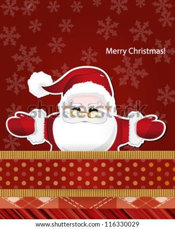 Christmas card with Santa Claus. Vector illustration.