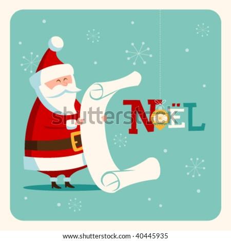 Christmas card with Santa. Vector. Editable.