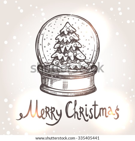 Christmas Card With Sketch Snowglobe