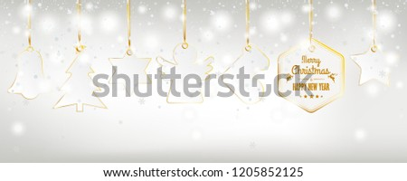 Christmas card with snowfall and golden stickers on the bright background. Eps 10 vector file.
