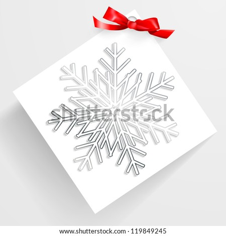 Christmas card with snowflakes and bow. Vector.