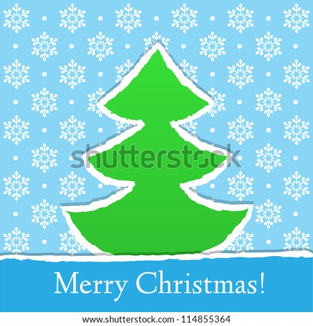 Christmas card with snowflakes and paper tree, vector
