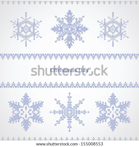 Christmas card with snowflakes on a white background