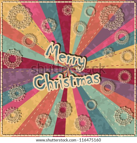 Christmas card with snowflakes on grunge background in retro colors