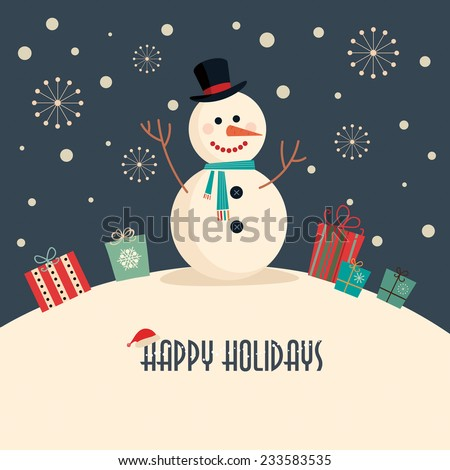 Stock Photo Christmas card with snowman