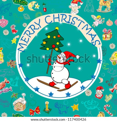 Christmas card with snowman and Christmas tree over a seamless pattern with season greetings icons
