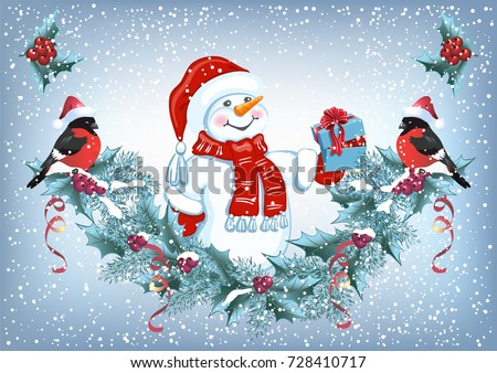 christmas card with snowman in