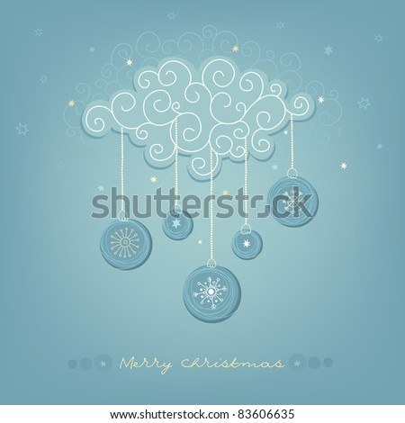 Christmas card with snowy cloud