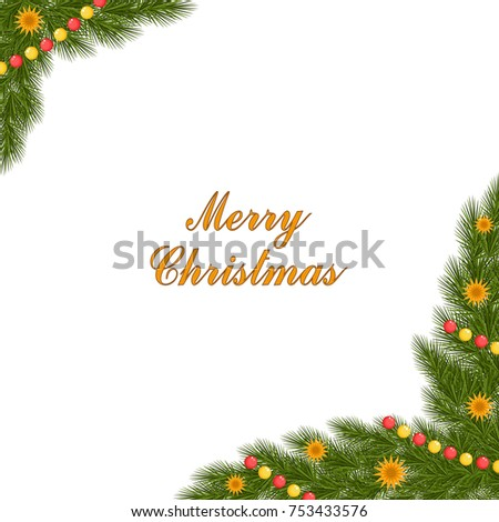 christmas card with spruce corner and decorations in golden vector illustration