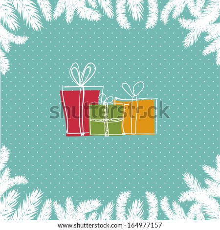 christmas card with three gift
