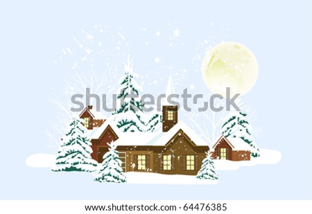 Christmas card with town, snow and moon. All elements and textures are individual objects. Vector illustration scale to any size.