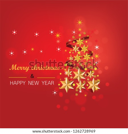 Christmas card with tree and snowflakes, Christmas and New Years red background with Christmas Tree #1262728969