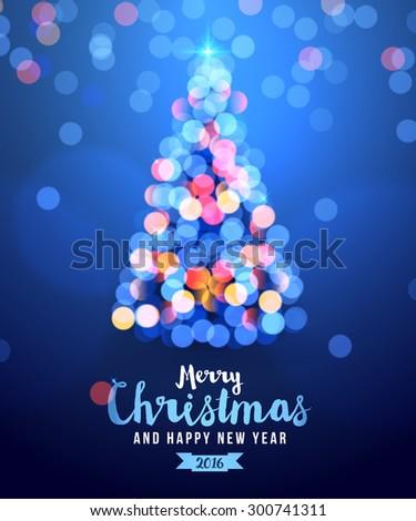christmas card with tree lights