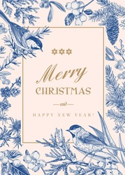 Christmas card with two birds and winter plants and berries. Christmas winter background.