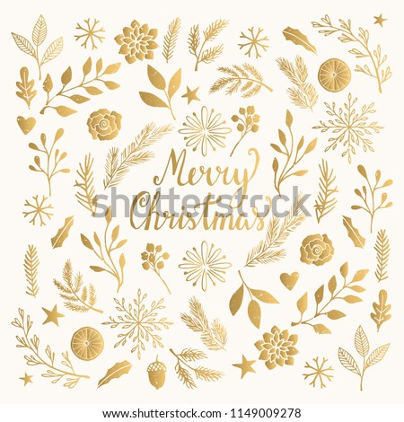 Christmas card with winter plants, flowers, branches. Elegant vintage pattern.