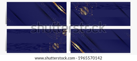 Christmas cards set of invitation banners base for text or print gold design black background abstract shiny color golden Stockfoto ©