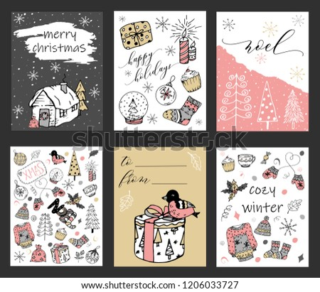 Christmas cards set. Sketch doodle vector illustrations. Hand drawn holiday design.