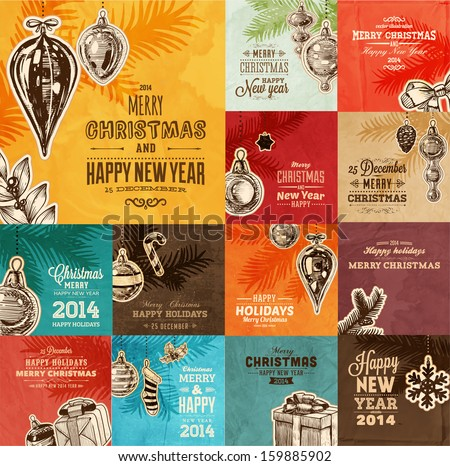 Christmas cards set. Xmas holiday design, engraving graphic elements. Vector illustration.