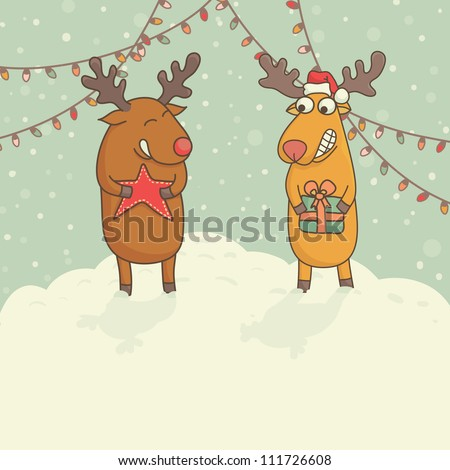 Christmas cards with cute deers