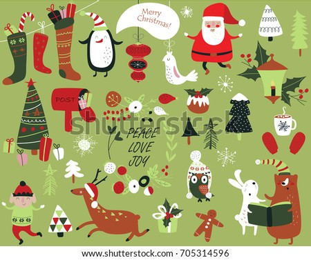 Stock Photo Christmas cards with cute Santa Claus, bear, trees, flowers,  mittens, snowflakes and christmas toys, penguin in winter cap, elf, christmas crackers and forest animals  in cartoon style