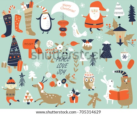 Christmas cards with cute Santa Claus, bear, trees, flowers,  mittens, snowflakes and christmas toys, penguin in winter cap, elf, christmas crackers and forest animals  in cartoon style