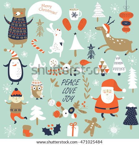 Christmas Crackers Cartoon.Christmas Cards With Cute Santa Claus Trees Flowers