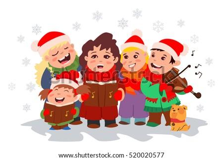 christmas caroling children