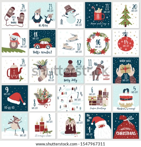 Christmas cartoon advent  calendar in hand draw style. Count down till Christmas kit. Twenty five Christmas countdown printable tags set. Vector illustration in cute hand draw style